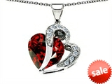 Original Star K™ Heart Shape 12mm Simulated Garnet Pendant