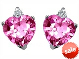 Original Star K™ Heart Shape 7mm Created Pink Sapphire Earrings