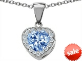 Original Star K™ 8mm Heart Shape Simulated Aquamarine Pendant