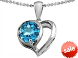 Original Star K™ Heart Shape Pendant With Round 7mm Simulated Aquamarine style: 304433