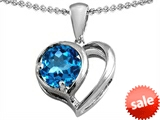 Original Star K™ Heart Shape Pendant With Round 7mm Blue Topaz style: 304435
