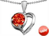 Original Star K™ Heart Shape Pendant With Round 7mm Simulated Mexican Fire Opal style: 304437