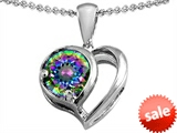 Original Star K™ Heart Shape Pendant With Round 7mm Rainbow Mystic Topaz