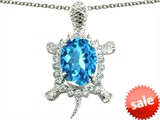 Original Star K™ Good Luck Turtle Pendant With Oval 12x10mm Simulated Aquamarine