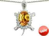 Original Star K™ Good Luck Turtle Pendant With Oval 12x10mm Simulated Citrine style: 304448
