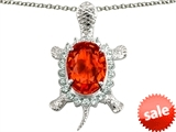 Original Star K™ Good Luck Turtle Pendant With Oval 12x10mm Simulated Mexican Fire Opal style: 304449