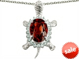 Original Star K™ Good Luck Turtle Pendant With Oval 12x10mm Simulated Garnet