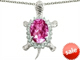 Original Star K™ Good Luck Turtle Pendant With Oval 12x10mm Created Pink Sapphire