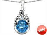 Original Star K™ Large Loving Mother With Twins Children Pendant With Round 10mm Simulated Aquamarine