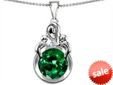 Original Star K™ Large Loving Mother With Twins Children Pendant With Round 10mm Simulated Emerald