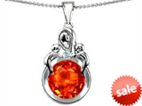Original Star K™ Large Loving Mother With Twins Children Pendant With Round Simulated Mexican Fire Opal