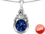 Original Star K™ Large Loving Mother With Twins Children Pendant With Round 10mm Created Sapphire