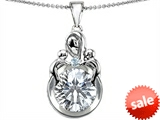 Original Star K™ Large Loving Mother With Children Pendant With Round 10mm Genuine White Topaz