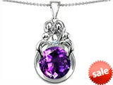 Original Star K™ Large Loving Mother And Family Pendant With Round 10mm Simulated Amethyst
