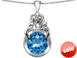 Original Star K™ Large Loving Mother And Family Pendant With Round 10mm Simulated Aquamarine