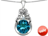 Original Star K™ Large Loving Mother And Family Pendant With Round 10mm Simulated Blue Topaz style: 304475