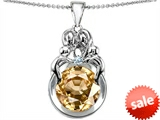 Original Star K™ Large Loving Mother And Family Pendant With Round 10mm Simulated Imperial Yellow Topaz