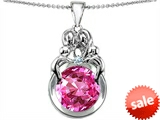Original Star K™ Large Loving Mother And Family Pendant With Round 10mm Created Pink Sapphire