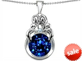 Original Star K™ Large Loving Mother And Family Pendant With Round 10mm Created Sapphire style: 304486