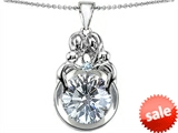 Original Star K™ Large Loving Mother And Family Pendant With Round 10mm Genuine White Topaz
