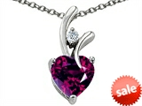 Original Star K™ Genuine Heart Shaped 8mm Rhodolite Pendant style: 304489