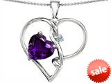Original Star K™ Large 10mm Heart Shaped Simulated Amethyst Knotted Heart Pendant