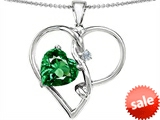 Original Star K™ Large 10mm Heart Shaped Simulated Emerald Knotted Pendant