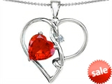 Original Star K™ Large 10mm Heart Shaped Simulated Orange Mexican Fire Opal Knotted Heart Pendant style: 304495