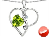Original Star K™ Large 10mm Heart Shaped Simulated Peridot Knotted Heart Pendant style: 304498