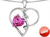 Original Star K™ Large 10mm Heart Shaped Created Pink Sapphire Knotted Heart Pendant
