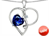 Original Star K™ Large 10mm Heart Shaped Created Sapphire Knotted Heart Pendant style: 304502