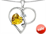 Original Star K™ Large 10mm Heart Shaped Simulated Yellow Sapphire Knotted Pendant style: 304504