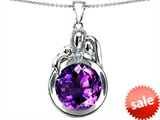 Original Star K™ Loving Mother And Father With Child Family Pendant With Round 10mm Simulated Amethyst