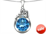 Original Star K™ Loving Mother And Father With Child Family Pendant With Round 10mm Simulated Aquamarine