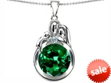 Original Star K™ Loving Mother And Father With Child Family Pendant With Round 10mm Simulated Emerald
