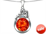 Original Star K™ Loving Mother And Father With Child Family Pendant With Round 10mm Simulated Mexican Fire Opal style: 304511
