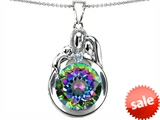 Original Star K™ Loving Mother And Father With Child Family Pendant With Round 10mm Mystic Topaz