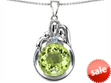 Original Star K™ Loving Mother And Father With Child Family Pendant With Round 10mm Simulated Peridot
