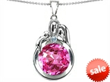 Original Star K™ Loving Mother And Father With Child Family Pendant With Round 10mm Created Pink Sapphire