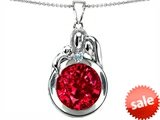 Original Star K™ Loving Mother And Father With Child Family Pendant With Round 10mm Created Ruby style: 304518