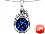 Original Star K™ Loving Mother And Father With Child Family Pendant With Round 10mm Created Sapphire