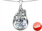 Original Star K™ Loving Mother And Father With Child Family Pendant With 10mm Round Genuine White Topaz