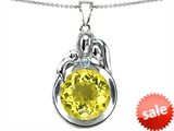Original Star K™ Loving Mother And Father With Child Family Pendant With Round 10mm Simulated Yellow Sapphire