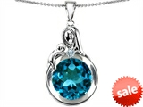 Original Star K™ Loving Mother With Child Family Large Pendant With Round 10mm Simulated Blue Topaz