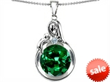 Original Star K™ Loving Mother With Child Family Large Pendant With Round 10mm Simulated Emerald style: 304527
