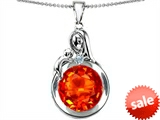 Original Star K™ Loving Mother With Child Family Large Pendant With Round 10mm Simulated Mexican Fire Opal style: 304528