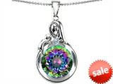 Original Star K™ Loving Mother With Child Family Large Pendant With Rainbow Round 10mm Mystic Topaz