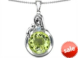 Original Star K™ Loving Mother With Child Family Large Pendant With Round 10mm Simulated Peridot style: 304532