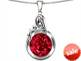 Original Star K™ Loving Mother With Child Family Large Pendant With Round 10mm Created Ruby