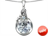 Original Star K™ Loving Mother With Child Family Pendant With Round 10mm Genuine White Topaz